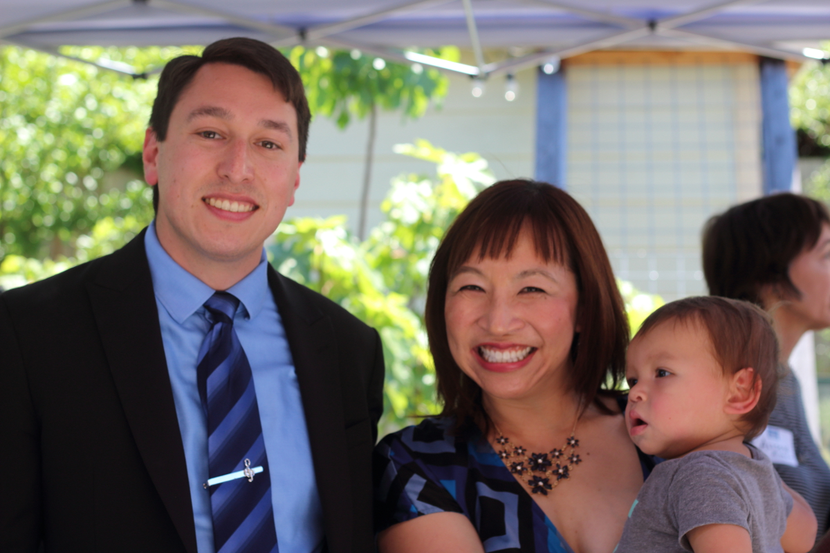 Lucas Ramirez with Downtown Committee Member Merry Yen